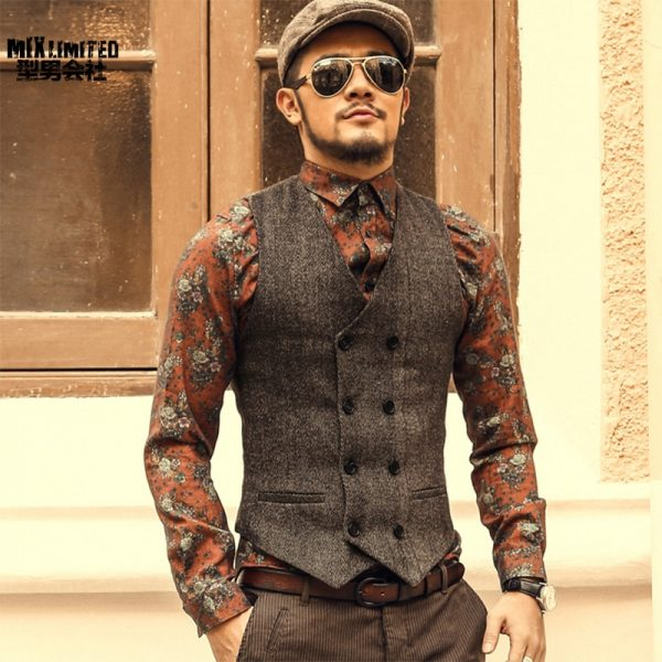 Double Breasted Vest Men Dress Suit Vest
