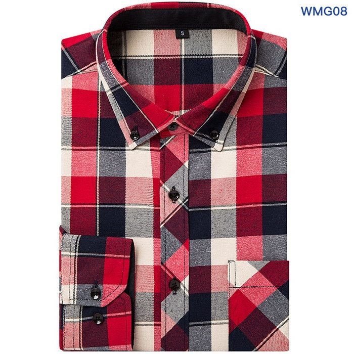 Flannel Men Plaid Shirts Formal Business Shirts