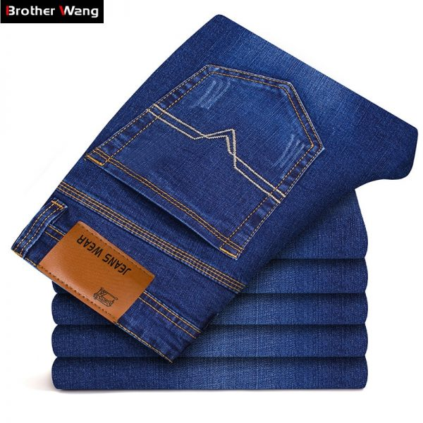 Men's Slim Elastic Jeans Skinny Jeans Denim Pants