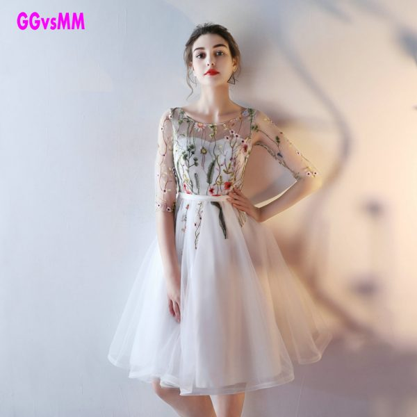 Short Prom Dresses Embroidery Lace Up Evening Gown