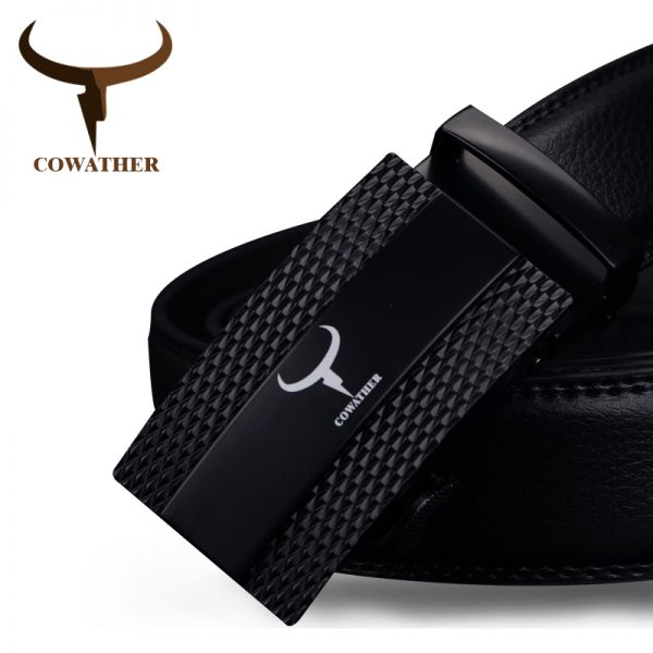 Cow Genuine Leather Belts Automatic Alloy Buckle