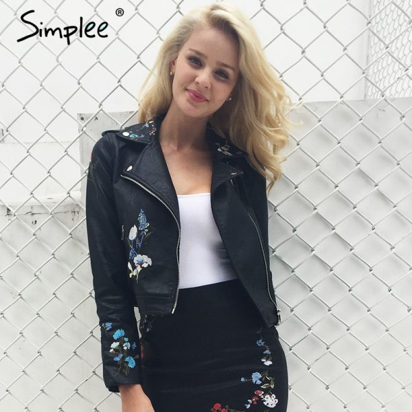 Embroidery Faux Leather Coat Motorcycle Zipper