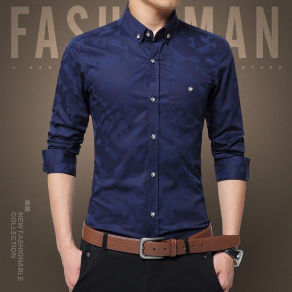 Fashion Casual Men Shirt Long Sleeve Dress Shirts