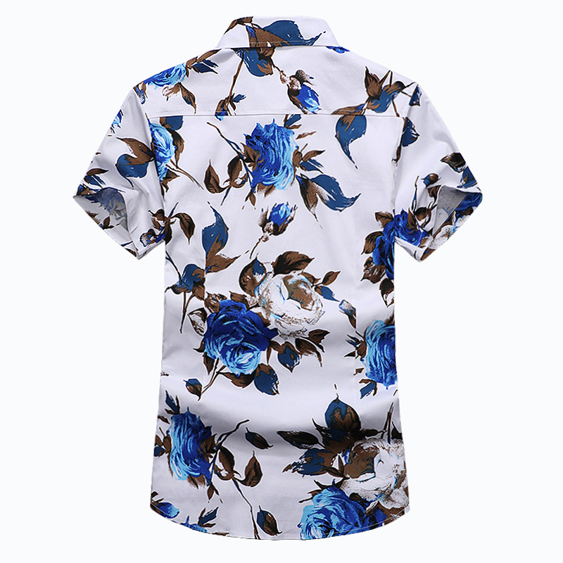 Fashion Men's Shirt Short Sleeve Floral Shirt
