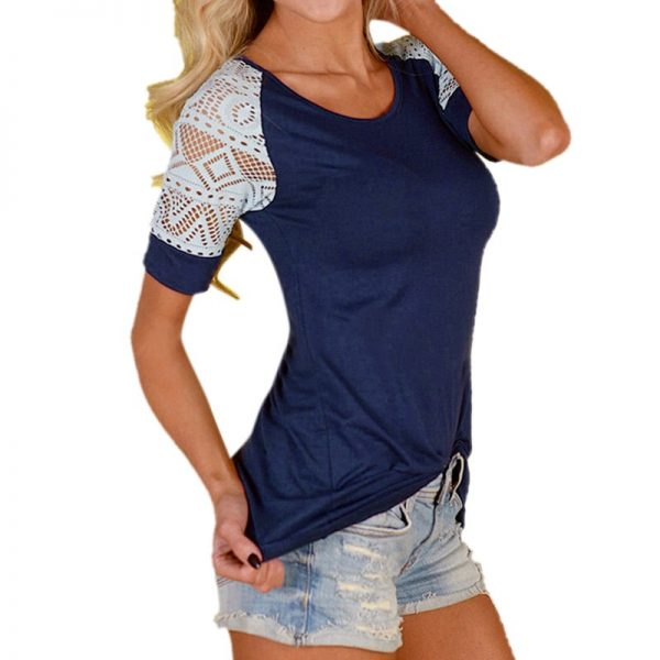 Hollow Lace Stitching Summer Tops T-shirt