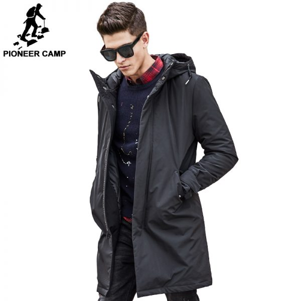 Long Winter Jacket Black Down Parkas
