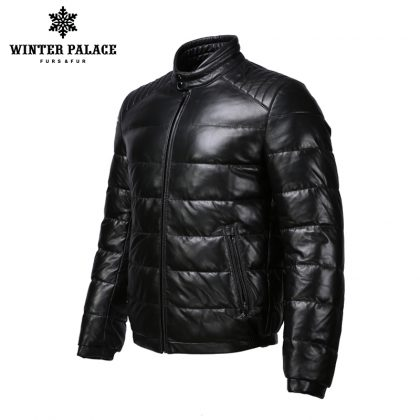 Mandarin Collar Leather Jacket Coats