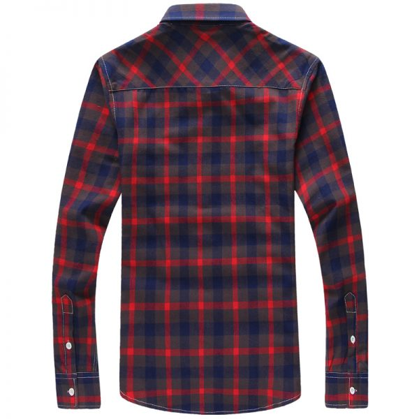 Plaid Shirts Men Checkered Shirt Long Sleeve Shirt