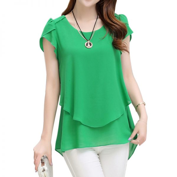 Short Sleeve Chiffon Blouse Peplum Summer Tops