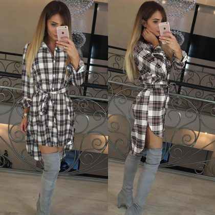 Women Blouses Long Sleeve Plaid Shirts Tops