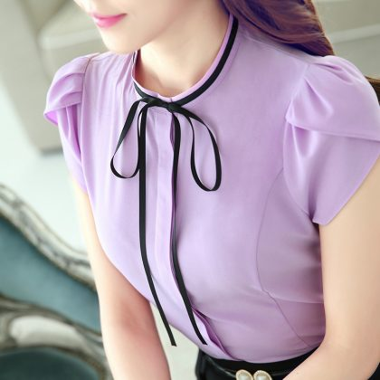 Women O-neck Petal Sleeve Bow Shirt Blouse