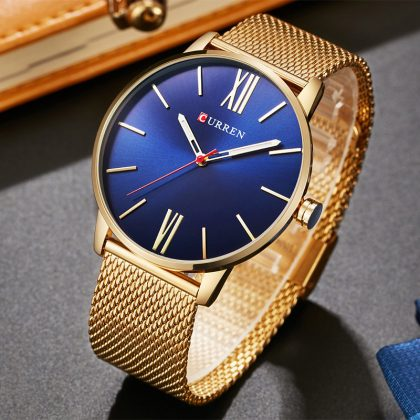 Business Stainless Steel Mesh Quartz-Watch