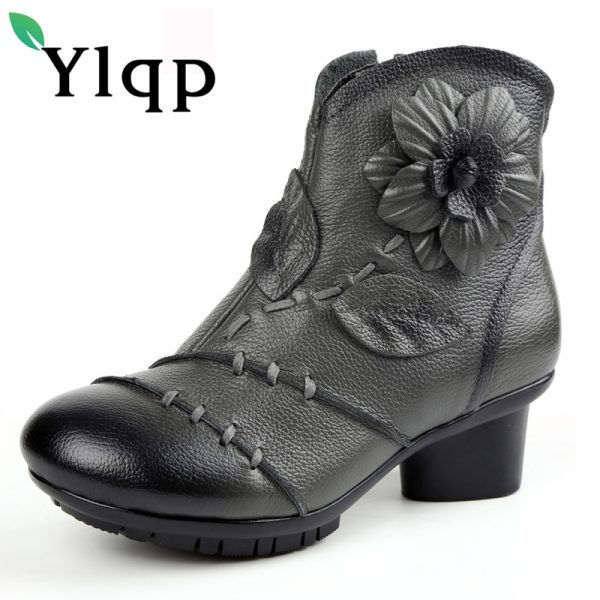 Casual Leather Boots Womens Flat Shoes