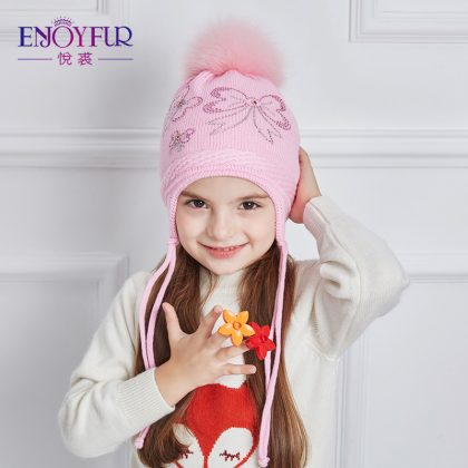 Children Winter Hats Real Fox Fur Pompom