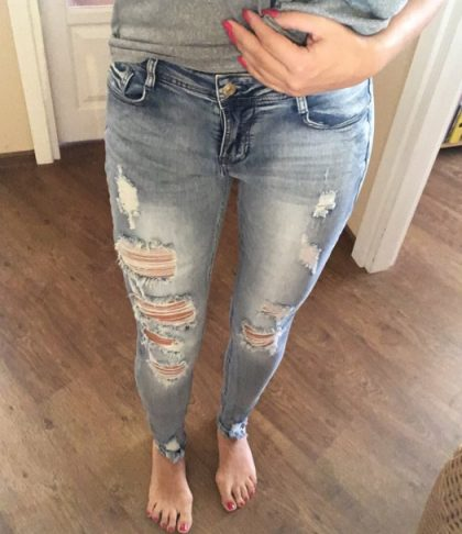 Classic Distressed Jeans Ripped True Denim Pants