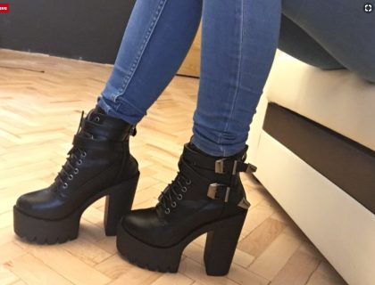 Fashion Women Boots High Heels Platform Buckle