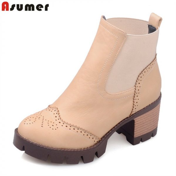 Female Ankle Boots Square Heels Round Toe