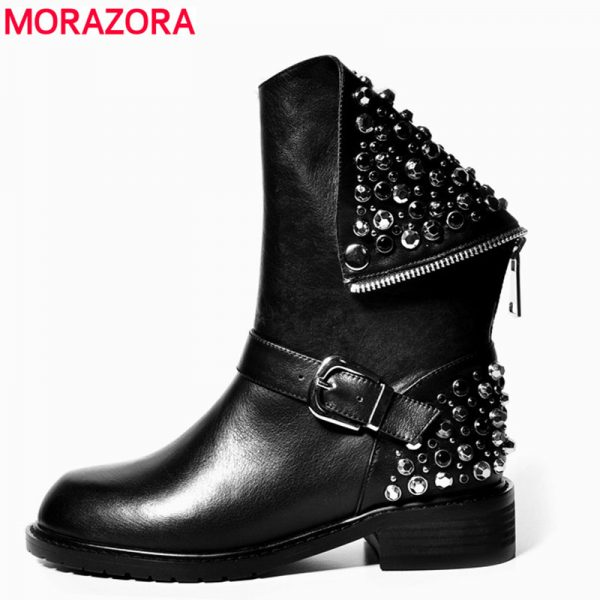 Genuine Leather Boots Rivets Square Heels