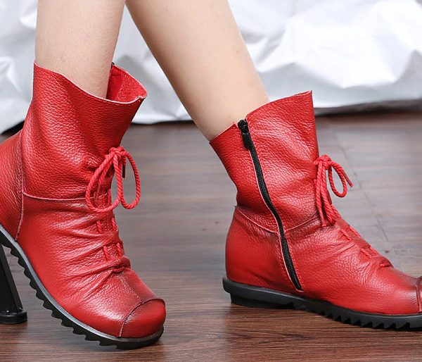 Genuine Leather Women Boots Flat Booties