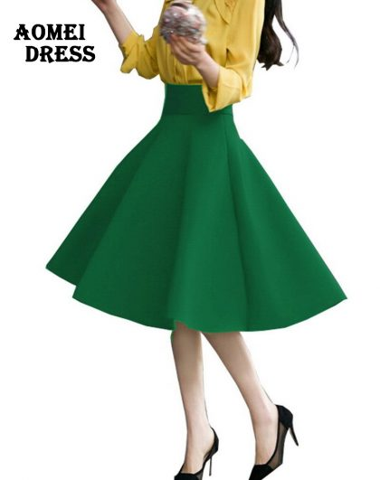 High Waist Pleat Elegant Skirt Flared Skirts