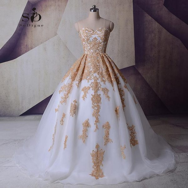Lace Appliques Wedding Princess Ball Gowns Vestido