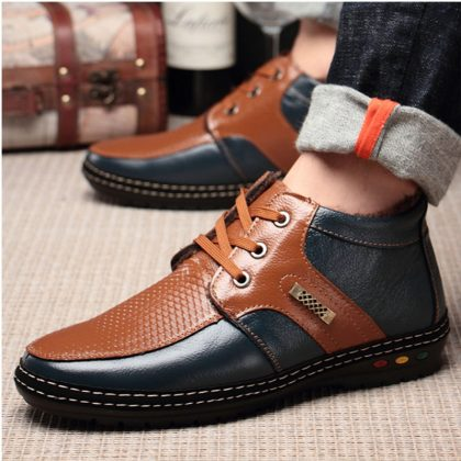 Leather Snow boots Cashmere Warm Shoes