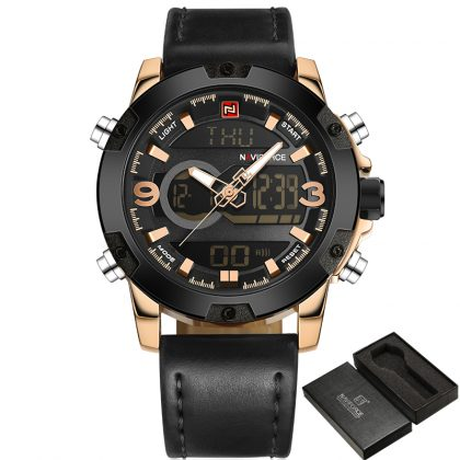Men Analog Digital Leather Sports Watches