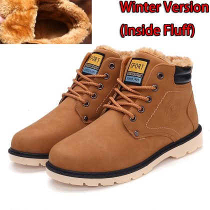 Men Winter Boots Leather Casual Boots