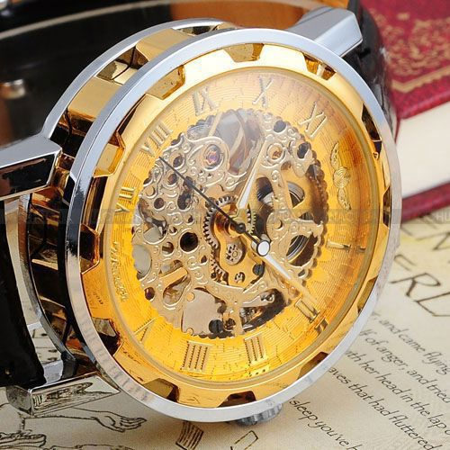 Skeleton Hollow Watches Leather Strap Wrist Watch
