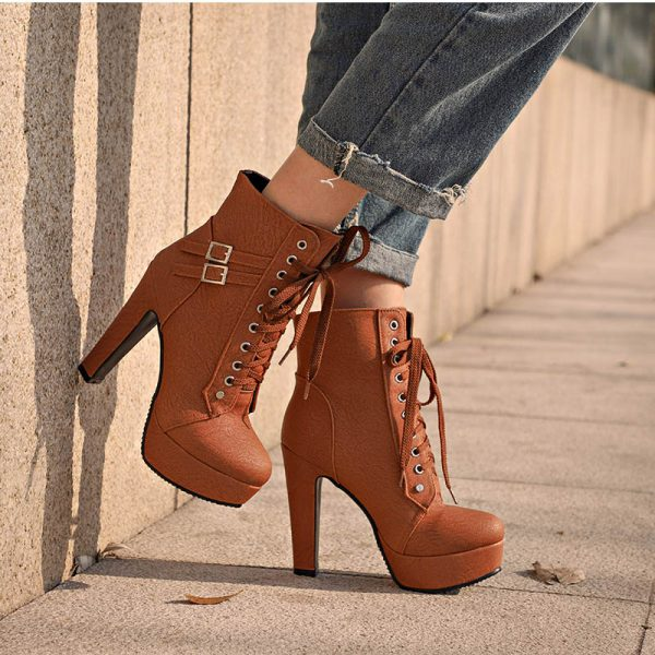 Women Ankle Boots Leather Shoes