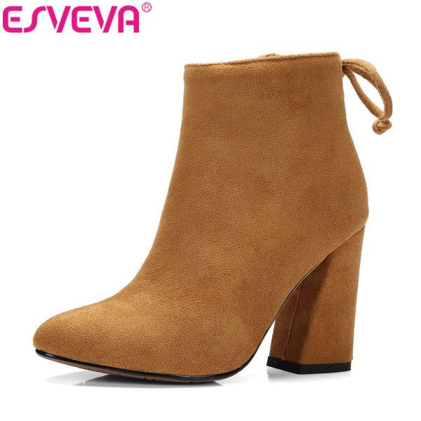 Women Boots Flock Ankle Boots Round Toe