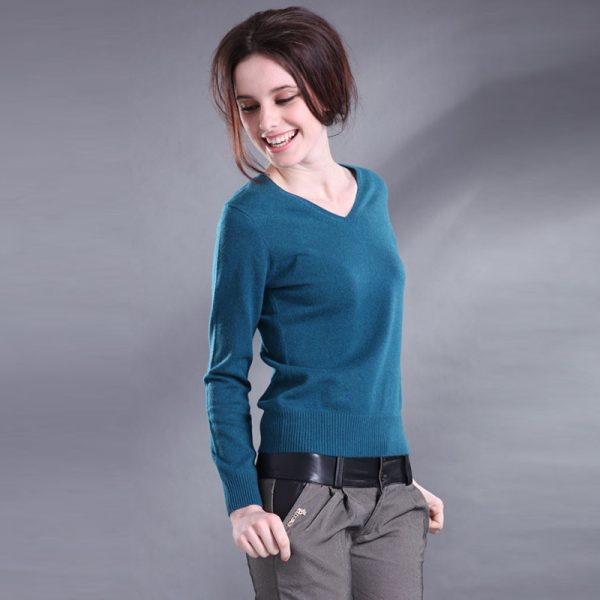 V-neck Cashmere Sweater Female Wool Pullover