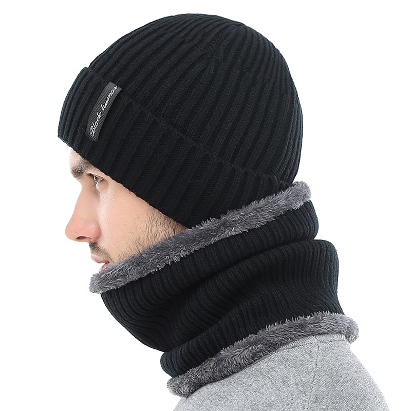 Winter Beanies Men Scarf Knitted Hat Caps Mask