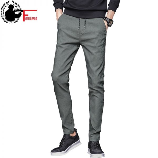 Men Stretch Pants Elastic Waist Jogger