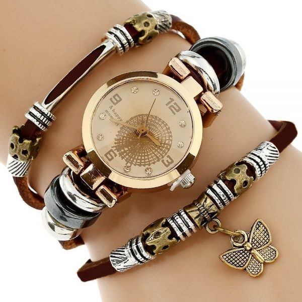 Genuine Leather Watch Triple Bracelet Watch