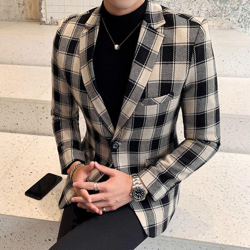 Cool Plaid Blazer Men's Fashion