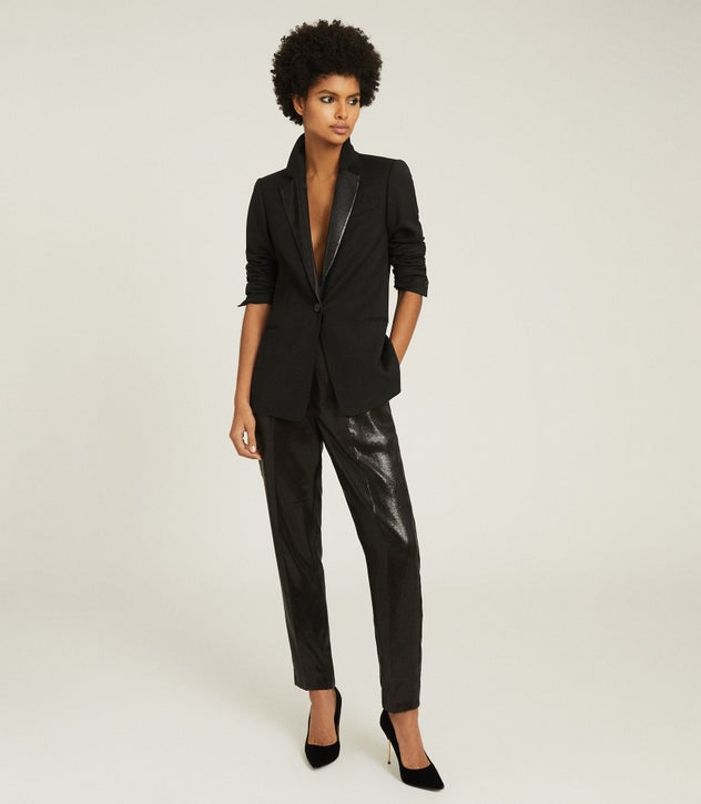 Black Sequin Blazer - Fashion Tips For Wearing A Black Sequin Blazer Over A White Jeans